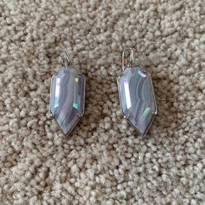IRIDESCENT BLUE AGATE PALMER EARRINGS